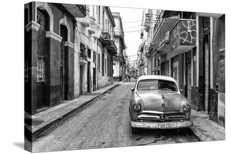 Cuba Fuerte Collection B&W - Old Ford Car in Havana-Philippe Hugonnard-Stretched Canvas Print