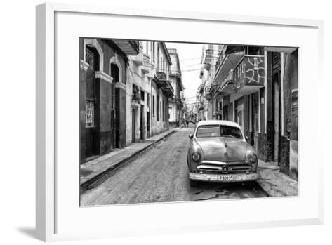 Cuba Fuerte Collection B&W - Old Ford Car in Havana-Philippe Hugonnard-Framed Art Print