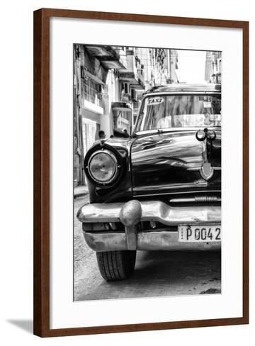 Cuba Fuerte Collection B&W - Old American Taxi Car IV-Philippe Hugonnard-Framed Art Print