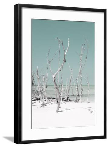 Cuba Fuerte Collection - Wild White Sand Beach II - Pastel Coral Green-Philippe Hugonnard-Framed Art Print