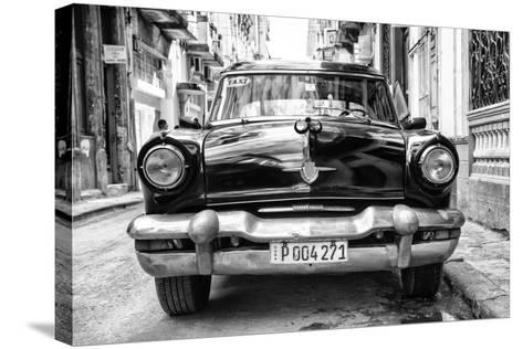 Cuba Fuerte Collection B&W - Old American Taxi Car II-Philippe Hugonnard-Stretched Canvas Print