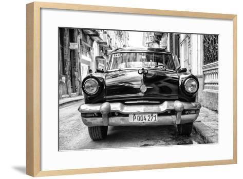 Cuba Fuerte Collection B&W - Old American Taxi Car II-Philippe Hugonnard-Framed Art Print