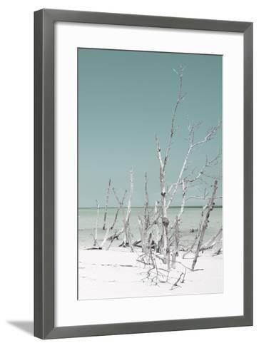Cuba Fuerte Collection - Wild White Sand Beach III - Pastel Coral Green-Philippe Hugonnard-Framed Art Print
