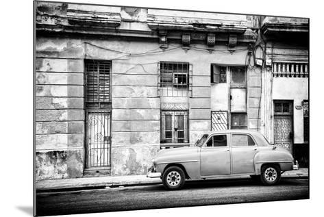 Cuba Fuerte Collection B&W - Old White Car in Havana-Philippe Hugonnard-Mounted Photographic Print