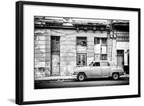 Cuba Fuerte Collection B&W - Old White Car in Havana-Philippe Hugonnard-Framed Art Print