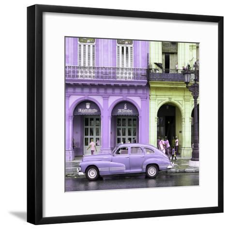 Cuba Fuerte Collection SQ - Colorful Architecture and Mauve Classic Car-Philippe Hugonnard-Framed Art Print