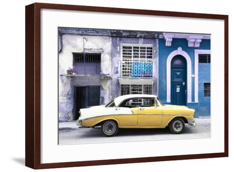 Cuba Fuerte Collection - Yellow Classic Car in Havana-Philippe Hugonnard-Framed Art Print
