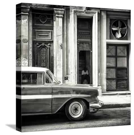 Cuba Fuerte Collection SQ BW - Old Classic American Car-Philippe Hugonnard-Stretched Canvas Print