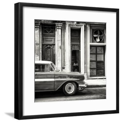 Cuba Fuerte Collection SQ BW - Old Classic American Car-Philippe Hugonnard-Framed Art Print