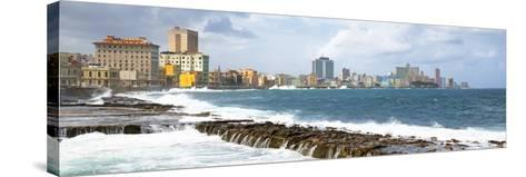 Cuba Fuerte Collection Panoramic - Malecon Wall of Havana-Philippe Hugonnard-Stretched Canvas Print