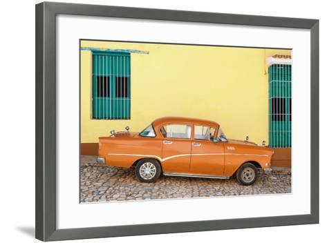 Cuba Fuerte Collection - Orange Classic Car in Trinidad-Philippe Hugonnard-Framed Art Print