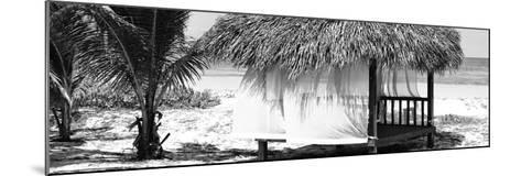 Cuba Fuerte Collection Panoramic BW - Paradise Beach Hut-Philippe Hugonnard-Mounted Photographic Print