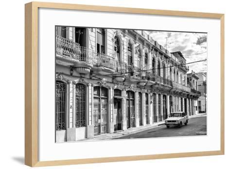 Cuba Fuerte Collection B&W - Car on Street of Havana-Philippe Hugonnard-Framed Art Print