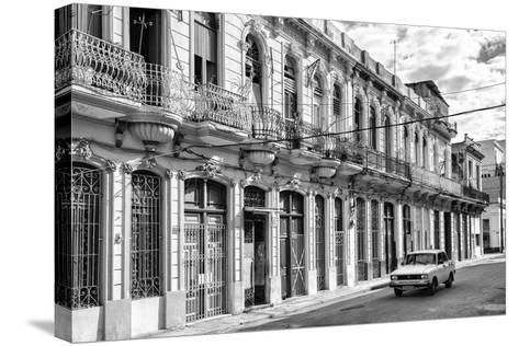 Cuba Fuerte Collection B&W - Car on Street of Havana-Philippe Hugonnard-Stretched Canvas Print