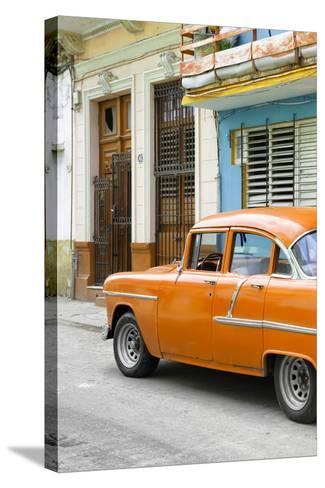 Cuba Fuerte Collection - Vintage Cuban Orange Car-Philippe Hugonnard-Stretched Canvas Print