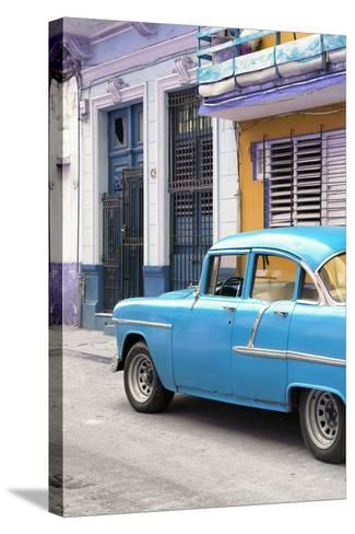 Cuba Fuerte Collection - Vintage Cuban Blue Car-Philippe Hugonnard-Stretched Canvas Print