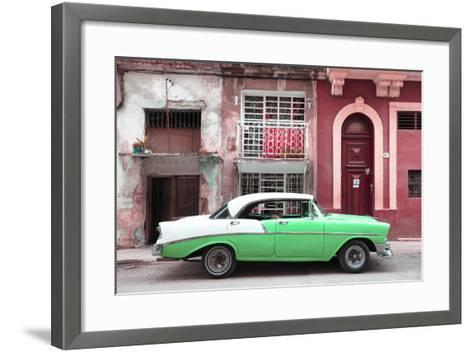 Cuba Fuerte Collection - Green Classic Car in Havana-Philippe Hugonnard-Framed Art Print