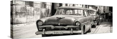 Cuba Fuerte Collection Panoramic BW - Classic Car in Havana-Philippe Hugonnard-Stretched Canvas Print