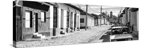 Cuba Fuerte Collection Panoramic BW - Cuban Street Scene in Trinidad II-Philippe Hugonnard-Stretched Canvas Print
