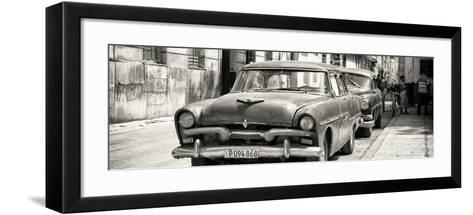 Cuba Fuerte Collection Panoramic BW - Classic Car in Havana-Philippe Hugonnard-Framed Art Print