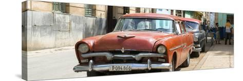 Cuba Fuerte Collection Panoramic - Red Classic Car in Havana-Philippe Hugonnard-Stretched Canvas Print