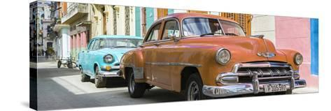 Cuba Fuerte Collection Panoramic - Two Chevrolet Cars Orange and Turquoise-Philippe Hugonnard-Stretched Canvas Print