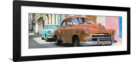 Cuba Fuerte Collection Panoramic - Two Chevrolet Cars Orange and Turquoise-Philippe Hugonnard-Framed Art Print