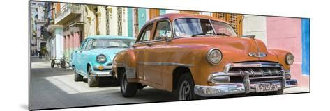 Cuba Fuerte Collection Panoramic - Two Chevrolet Cars Orange and Turquoise-Philippe Hugonnard-Mounted Photographic Print
