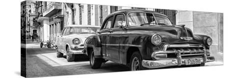 Cuba Fuerte Collection Panoramic BW - Two Chevrolet Cars II-Philippe Hugonnard-Stretched Canvas Print