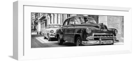 Cuba Fuerte Collection Panoramic BW - Two Chevrolet Cars II-Philippe Hugonnard-Framed Art Print