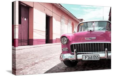 Cuba Fuerte Collection - Cuban Pink Car in the Street-Philippe Hugonnard-Stretched Canvas Print