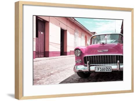 Cuba Fuerte Collection - Cuban Pink Car in the Street-Philippe Hugonnard-Framed Art Print