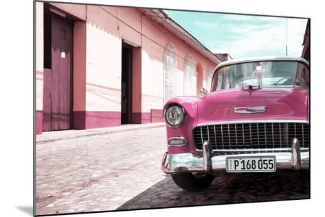 Cuba Fuerte Collection - Cuban Pink Car in the Street-Philippe Hugonnard-Mounted Photographic Print