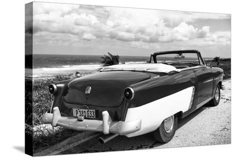 Cuba Fuerte Collection B&W - American Classic Car on the Beach IV-Philippe Hugonnard-Stretched Canvas Print