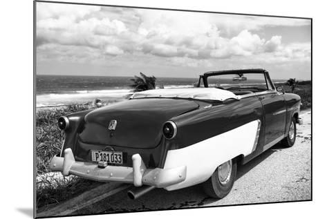 Cuba Fuerte Collection B&W - American Classic Car on the Beach IV-Philippe Hugonnard-Mounted Photographic Print