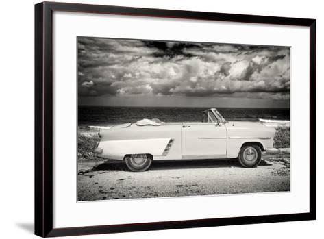 Cuba Fuerte Collection B&W - American Classic Car on the Beach II-Philippe Hugonnard-Framed Art Print