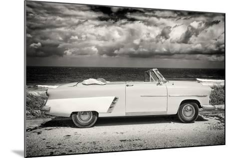Cuba Fuerte Collection B&W - American Classic Car on the Beach II-Philippe Hugonnard-Mounted Photographic Print