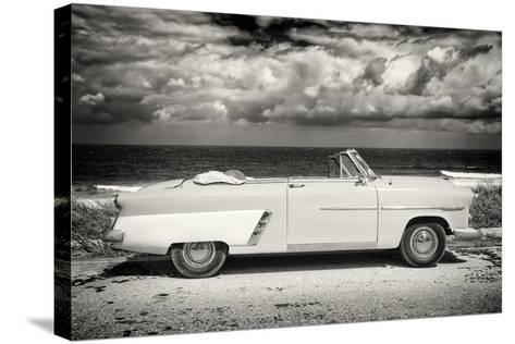 Cuba Fuerte Collection B&W - American Classic Car on the Beach II-Philippe Hugonnard-Stretched Canvas Print