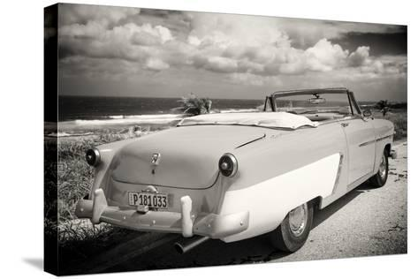 Cuba Fuerte Collection B&W - American Classic Car on the Beach III-Philippe Hugonnard-Stretched Canvas Print