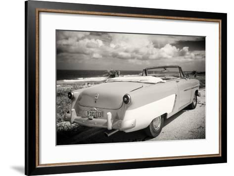 Cuba Fuerte Collection B&W - American Classic Car on the Beach III-Philippe Hugonnard-Framed Art Print