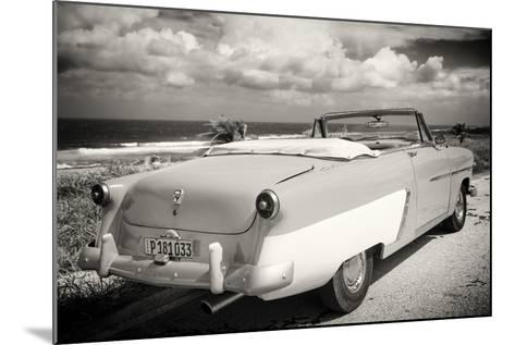 Cuba Fuerte Collection B&W - American Classic Car on the Beach III-Philippe Hugonnard-Mounted Photographic Print