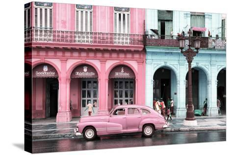 Cuba Fuerte Collection - Colorful Architecture and Pink Classic Car-Philippe Hugonnard-Stretched Canvas Print