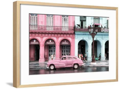 Cuba Fuerte Collection - Colorful Architecture and Pink Classic Car-Philippe Hugonnard-Framed Art Print