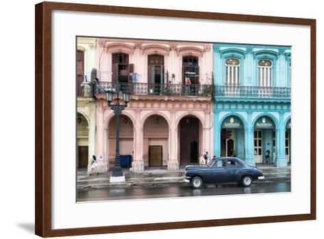 Cuba Fuerte Collection - Colorful Architecture and Black Classic Car-Philippe Hugonnard-Framed Art Print