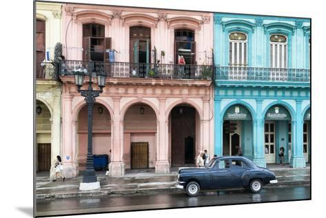 Cuba Fuerte Collection - Colorful Architecture and Black Classic Car-Philippe Hugonnard-Mounted Photographic Print