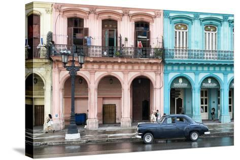 Cuba Fuerte Collection - Colorful Architecture and Black Classic Car-Philippe Hugonnard-Stretched Canvas Print