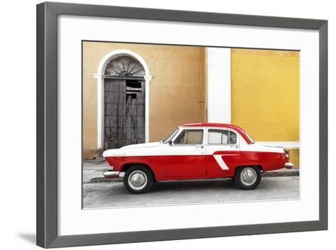 Cuba Fuerte Collection - American Classic Car White and Red-Philippe Hugonnard-Framed Art Print