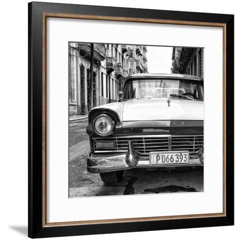 Cuba Fuerte Collection SQ BW - Old Ford Car II-Philippe Hugonnard-Framed Art Print