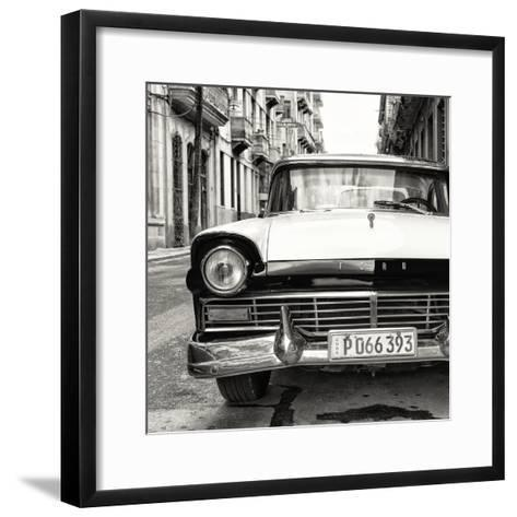 Cuba Fuerte Collection SQ BW - Old Ford Car-Philippe Hugonnard-Framed Art Print