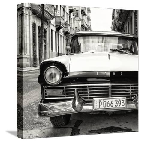 Cuba Fuerte Collection SQ BW - Old Ford Car-Philippe Hugonnard-Stretched Canvas Print